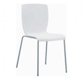 Mio Καρέκλα Πολυπροπυλενίου White Με Μεταλλικά Πόδια 47x50x80cm