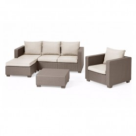 Salta Chaise Lounge Set Γωνία Cappuccino 4 Τμχ