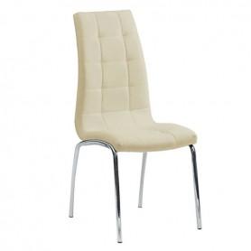 Spirit Καρέκλα Με Μπεζ PU Και Πόδια Χρωμίου 42x57x99cm