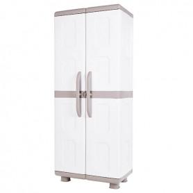 Ηλέκτρα Δίφυλλη Ντουλάπα Πλαστική Μπεζ/Λευκό Με 4 Ράφια 179x73x44cm