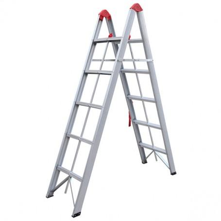 Σκάλα Αλουμινίου Διπλή Αναδιπλούμενη 5 Σκαλοπάτια GeHock