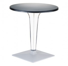Ice 500 Τραπέζι Φ60 Διάφανο/Μαύρο
